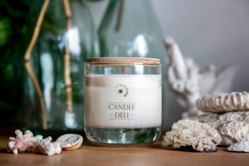 scented soy candle in thick bottomed container